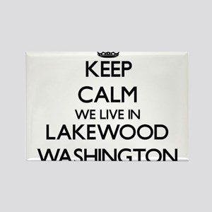Keep calm we live in Lakewood Washington Magnets