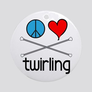 Peace Love Twirling Ornament (Round)