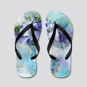 french country flowers Flip Flops