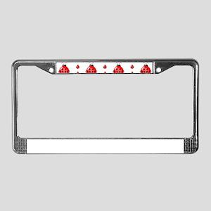 Red Ladybug Pattern License Plate Frame