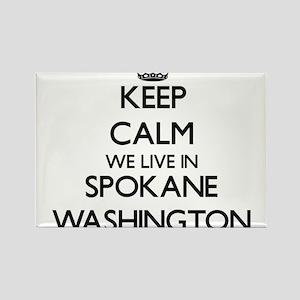 Keep calm we live in Spokane Washington Magnets