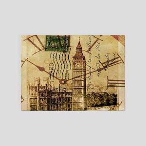 vintage london big ben 5'x7'Area Rug