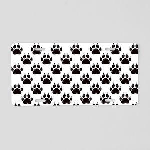 Cat Paw Print Pattern Aluminum License Plate