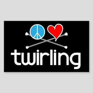 Peace Love Twirling Rectangle Sticker