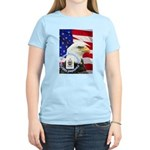 Women's Pink T-Shirt with patriotic Bates logo