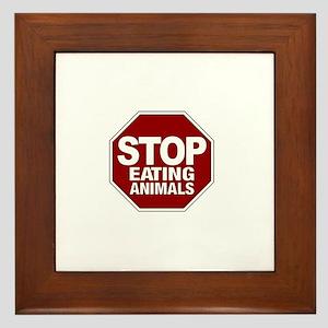 Stop Eating Animals Framed Tile