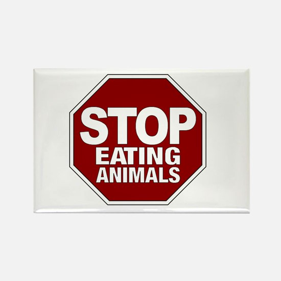 Stop Eating Animals Rectangle Magnet