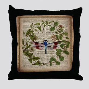 vintage botanical dragonfly Throw Pillow