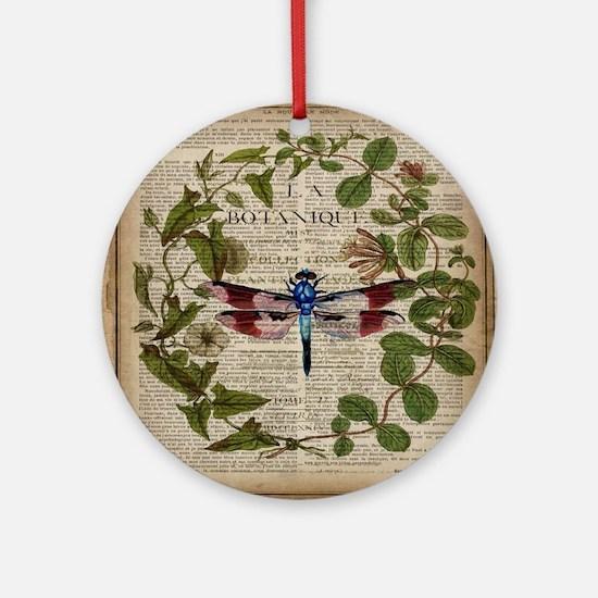 vintage botanical dragonfly Round Ornament