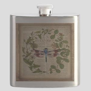 vintage botanical dragonfly Flask