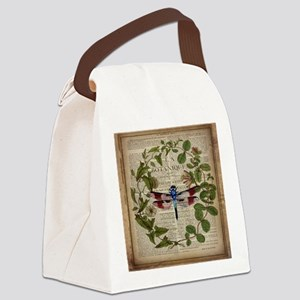 vintage botanical dragonfly Canvas Lunch Bag