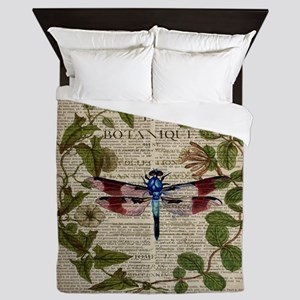 vintage botanical dragonfly Queen Duvet