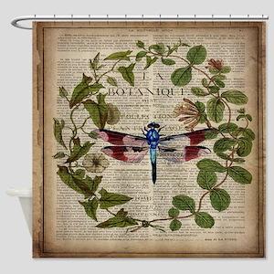 vintage botanical dragonfly Shower Curtain