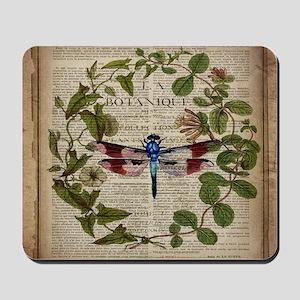 vintage botanical dragonfly Mousepad