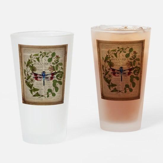 vintage botanical dragonfly Drinking Glass