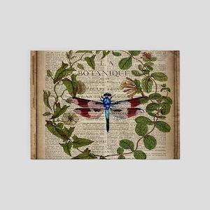 vintage botanical dragonfly 5'x7'Area Rug