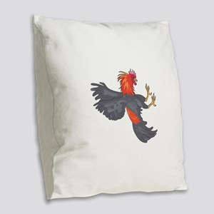 FIGHTING COCK Burlap Throw Pillow