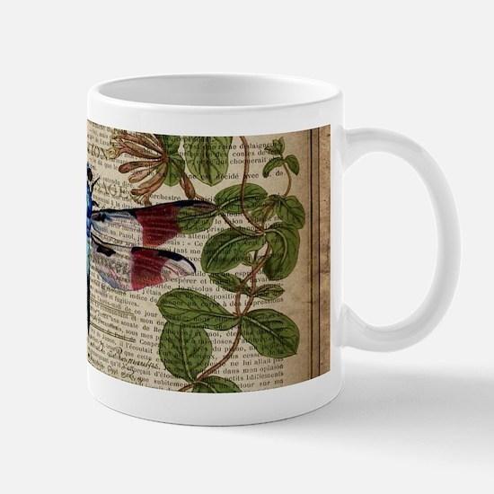 vintage botanical dragonfly Mugs
