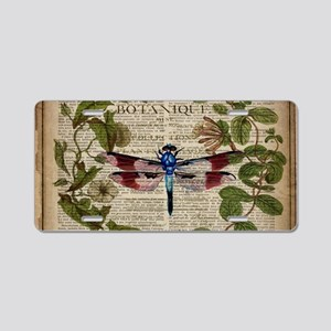 vintage botanical dragonfly Aluminum License Plate