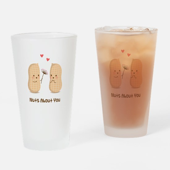 Cute Peanuts Nuts About You Love Humor Drinking Gl
