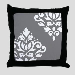 Scroll Damask Art I WG Throw Pillow