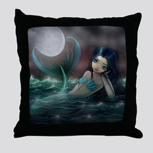 Moonlit Creek Mermaid Fantasy Art Throw Pillow