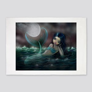 Moonlit Creek Mermaid Fantasy Art 5'x7'Area Rug