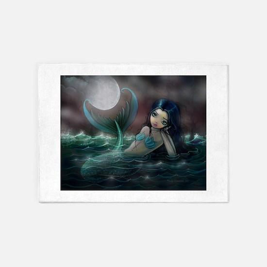 Moonlit Creek Mermaid Fantasy Art 5'x7'Area Rug