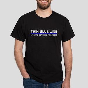 Blue Line Police Husband Dark T-Shirt