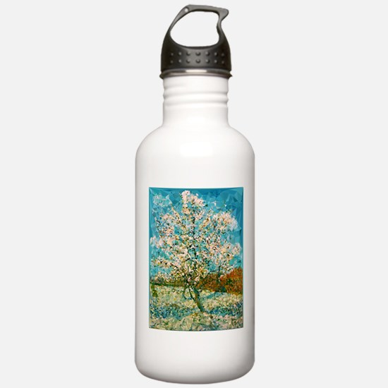 Pink Peach Tree Low Poly Water Bottle