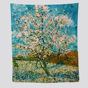 Pink Peach Tree Low Poly Wall Tapestry