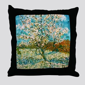 Pink Peach Tree Low Poly Throw Pillow