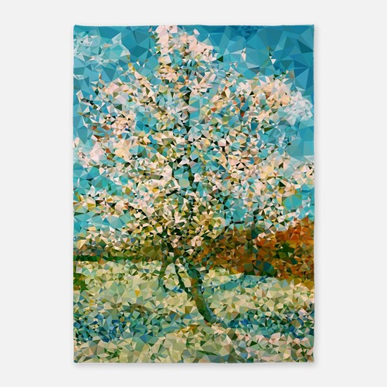 Pink Peach Tree Low Poly 5'x7'area Rug