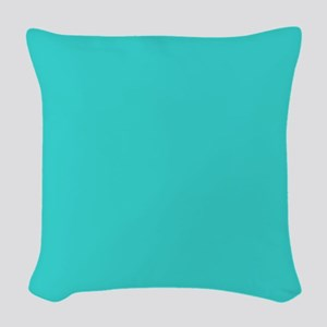 modern abstract teal Woven Throw Pillow