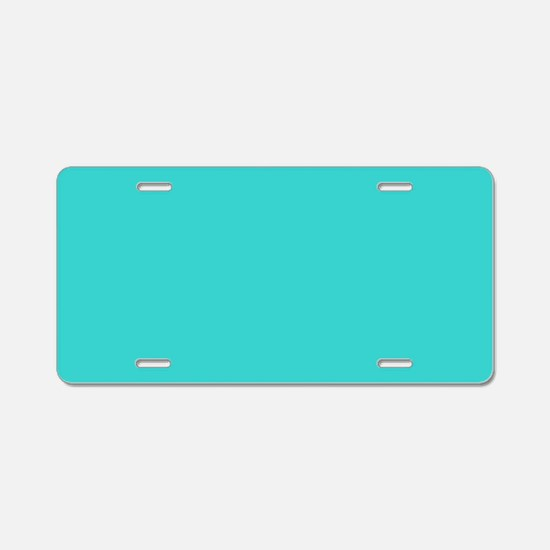 modern abstract teal Aluminum License Plate