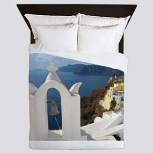 Santorini Bell Tower in the Afternoon Queen Duvet