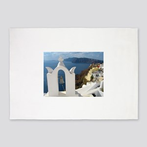 Santorini Bell Tower in the Afterno 5'x7'Area Rug