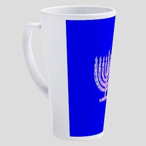 Blue Chanukah Menorah Glowing 4Nat 17 oz Latte Mug
