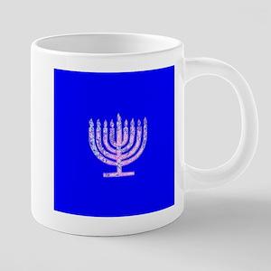 Blue Chanukah Menorah Glowing Mugs