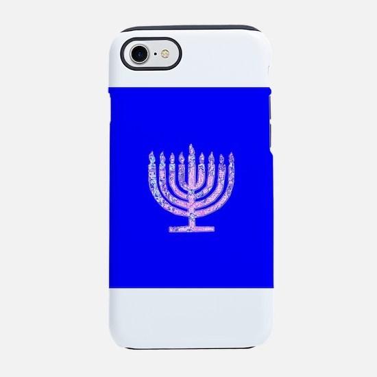 Blue Chanukah Menorah Glowing iPhone 7 Tough Case