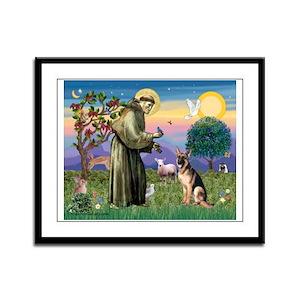 St Francis & G-Shepherd #2 Framed Panel Print