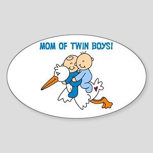 Stork Mom of Twin Boys Oval Sticker