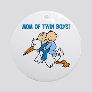 Stork Mom of Twin Boys Ornament (Round)