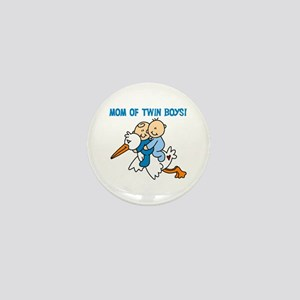Stork Mom of Twin Boys Mini Button