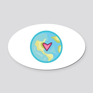PLANET EARTH WITH HEART Oval Car Magnet