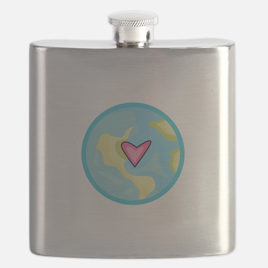 PLANET EARTH WITH HEART Flask