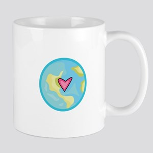 PLANET EARTH WITH HEART Mugs