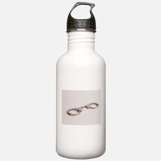 silver handcuffs photo Water Bottle