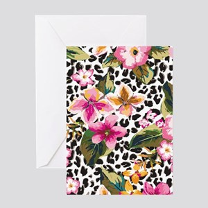Animal Print Flower Greeting Cards