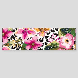 Animal Print Flower Bumper Sticker